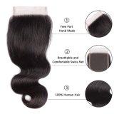 Волосы 12inches свободно закрытия шнурка человеческих волос 4*4 части перуанского прямые