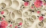 Foto 3D Diseño de fondo hermoso mural de papel tapiz de flores