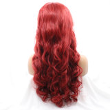 Dlme 크리스마스 빨간 긴 바디 파도치는 합성 머리 가발