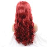 도매가 빨간 긴 바디 파도치는 합성 머리 가발