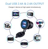 Водонепроницаемый двойной зарядное устройство USB разъем розетки - быстрая зарядка адаптер 5V 2.1A 2.1A 4.2A [и] для автомобиля на лодке мотоциклов морской для мобильных ПК