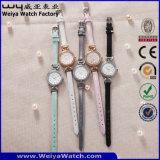 Montre faite sur commande de dames de quartz de courroie en cuir de mode (Wy-079C)