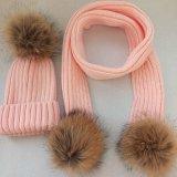 Knit-Hut mit Pelz-Kugel-Häkelarbeit-Schutzkappen-Winterbeanie-Hut des Pelz-POM Poms