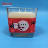 Vela vermelha do frasco dos feltros de lubrificação da fita 2 do boneco de neve do Natal com MSDS