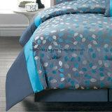 100% полиэстер/хлопка из жаккардовой ткани синего цвета для взрослых, постельные принадлежности,