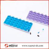Caixa plástica do organizador do comprimido de 21 compartimentos para a medicina