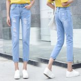 Nuovo modo e jeans di lavaggio tagliati blu-chiaro per la signora (HDLJ0036-17)