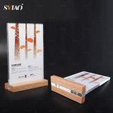Акрил меню держатель с деревянном основании / Таблица подставка для дисплея