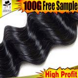 волосы 8A Remy соткут пачки перуанские и бразильские человеческие волосы