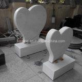 Headstone del cuore del marmo di bianco cinese singolo