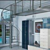 Escadaria espiral de vidro feita sob encomenda interna do aço inoxidável
