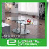 緩和されたガラスの上が付いている回転ステンレス鋼のコーヒーテーブル