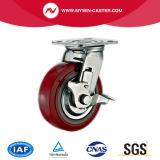 Chasse industrielle de polyuréthane rouge de plaque avec le frein