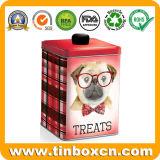 Cuadrada de metal pet food Tin trata la lata de galletas para perro