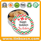 Ronda de panadería de metal de regalo de Navidad para el cuadro de Tin Tin Caso