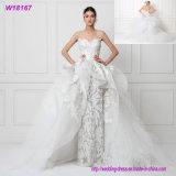 Robe formelle A - ligne argent de V-Collet perlant la robe de mariage W18539