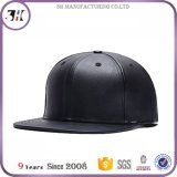 주문 순수한 색깔 PU 까만 Snapback 모자