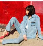 O denim azul feminina Jeans Reta destruir as calças jeans, Grossista