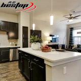 As bancadas brancas artificiais populares de quartzo montaram consoles de cozinha
