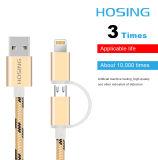 2 en 1 câble de caractéristiques tressé de chargeur du nylon USB pour l'androïde et l'iPhone