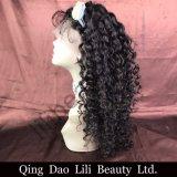 Lilibeauty Gluelessの黒人女性のための完全なレースのかつらのマレーシアの巻き毛の人間の毛髪は前に自然なヘアラインを摘み取った