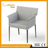 Neuer Entwurf PU-ledernes Patio-Hotel, das Stuhl mit Aluminiumrahmen-Rattan-im Freien Hauptmöbeln speist