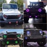 El cambio de colores RGB de 4 pulgadas faros antiniebla delanteros faros LED redonda de 7 pulgadas para Offroad Jeep Wrangler coche