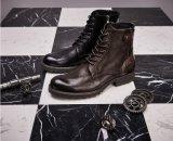 Les hommes en cuir occasionnels Round Toe Mens Bottes en cuir noir