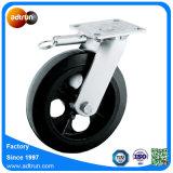 Ruedas de goma sólidas del echador universal resistente con el rodamiento de rodillos