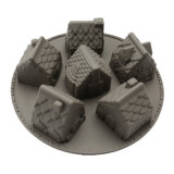 Certificado FDA Material de grado alimentario molde de silicona, 6PC 3D en casa de silicona con forma de molde de budín de chocolate /molde/Torta de molde de silicona