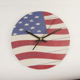Estándar de RoHS de la bandera estadounidense Reloj de pared de madera