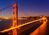 La lona de arte moderna de la luz del paisaje del puente de la noche de la ciudad imprime la pintura al óleo