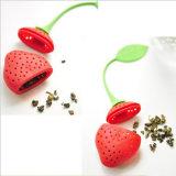 Thé rouge Infuser de filtre de perforateur de café de thé de support de sac de feuille de thé de forme de fraise de beaux silicones sûrs de Reuseable Foof