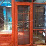 Puerta de entrada de aluminio de mirada de madera de la puerta francesa del perfil con la pantalla de la mosca
