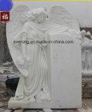 Monumenti di marmo bianchi piangenti Headstone e pietra tombale di angelo