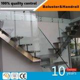 Framelessのガラス柵のスタンドオフの木製のステップ屋内浮遊まっすぐなステアケース
