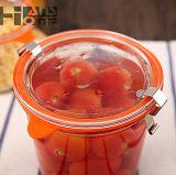 envases transparentes sellados vidrio de almacenaje de los frutos secos del tarro de la miel del tarro del almacenaje de la cocina de la rebanada fina del tarro 290ml del tazón de fuente de la fresa