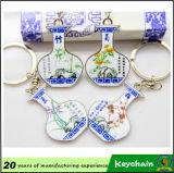 Het promotie Blauwe & Witte Metaal Keychain van het Porselein