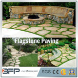 Yellow Rusty Color Slate Meshed Tile Flagstone para Paisagem
