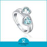 Clear Silver Crystal Anillo de dedo