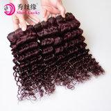 幸運な毛に深い波をペルーのバージンの束バーガンディ赤い人間の毛髪の拡張示しなさい