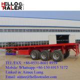 Helloo Schlussteil Tri-Welle 40FT 60 Tonnen-niedriger Flachbettbehälter-LKW-halb Schlussteil