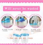 Grau alimentício vaso de armazenamento de leite materno de plástico com tampa de PP
