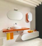 Vanità della stanza da bagno del PVC del PVC del Mobiletto Del Bagno Brown con indicatore luminoso
