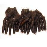 深い波100%の自然な人間のバージンのインドのRemyの毛のよこ糸