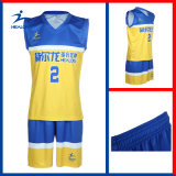 Uniforme preto e amarelo de Healong da tira do Sublimation do projeto do basquetebol