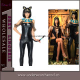 Faux Leather Black Teddy Lingerie Costume d'animal de chat (5129)