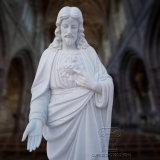 Weiße Marmorstatuen von Jesus, fromme Skulptur