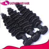 100%Human毛の深い巻き毛のバージンのインドの毛のよこ糸