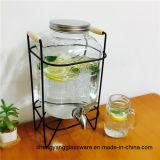Frasco quente do armazenamento do vidro de frasco de vidro do tamanho do recipiente de vidro do Sell grande com o recipiente de vidro da torneira com torneira